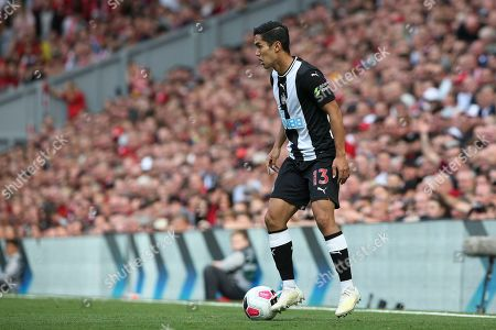 Newcastle United forward Yoshinori Muto (13) during the Premier League match between Liverpool and Newcastle United at Anfield, Liverpool