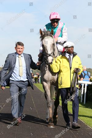 LOGICIAN and FRANKIE DETTORI about to leave the  Parade Ring before winning The Group 1 William Hill St Leger Stakes over 1m 6f (£700,000) during the fourth and final day of the St Leger Festival at Doncaster Racecourse, Doncaster