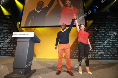 Former Conservative Party MP Sam Gyimah defects to the Lib Dems and is welcomed by party leader Jo Swinson on the first day of the Liberal Democrat Party Conference
