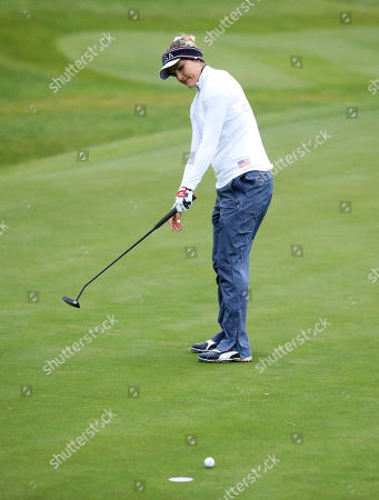 Lexi Thompson misses a putt to finish all square with Europe during the Fourballs match in the Solheim cup at Gleneagles, Auchterarder, Scotland