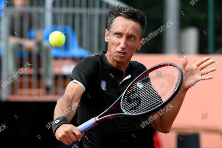 Sergiy Stakhovsky of Ukraine plays against Attila Balazs of Hungary in rubber 1 of tennis Davis Cup Group I, Europe/Africa 1st round match Hungary vs. Ukraine in Budapest, Hungary, 14 September 2019.