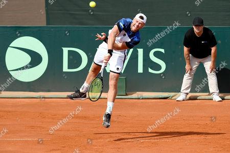 Illya Marchenko of Ukraine plays against Marton Fucsovics of Hungary in rubber 2 of tennis Davis Cup Group I, Europe/Africa 1st round match Hungary vs. Ukraine in Budapest, Hungary, 14 September 2019.