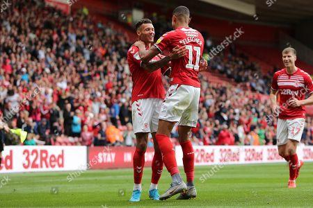 Ashley Fletcher congratulates Marvin Johnson on his goal