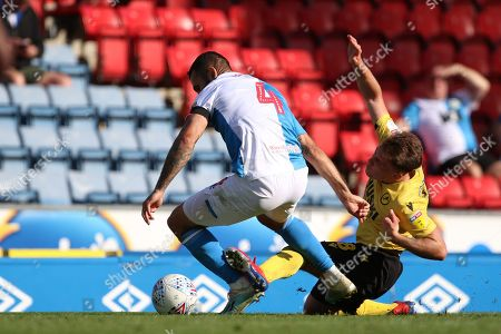 Blackburn Rovers Bradley Johnson tackles Millwall's Ben Thompson  during the EFL Sky Bet Championship match between Blackburn Rovers and Millwall at Ewood Park, Blackburn