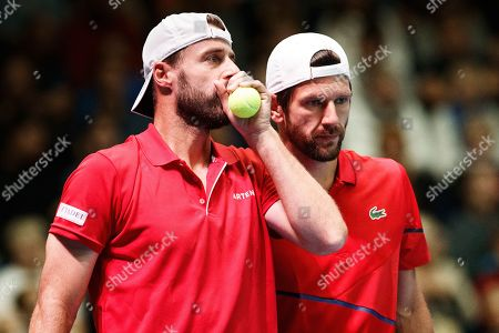 Oliver Marach (L) and Juergen Melzer of Austria in action Henri Kontinen and Emil Ruusuvuori of Finland during their doubles match for the Davis Cup tie between Finland and Austria, in Helsinki, Finland, 14 Septmber 2019.