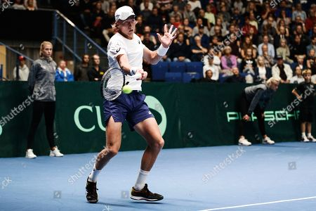 Emil Ruusuvuori of Finland in action against Juergen Melzer and Oliver Marach of Austria during their doubles match for the Davis Cup tie between Finland and Austria, in Helsinki, Finland, 14 Septmber 2019.