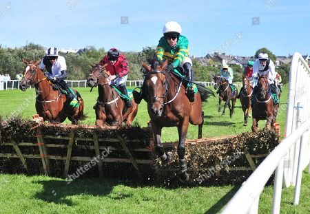 LISTOWEL WINNER TAKES ITALL and Mark Walsh jump the last to win The John Lynch Memorial Maiden Hurdle. Healy Racing