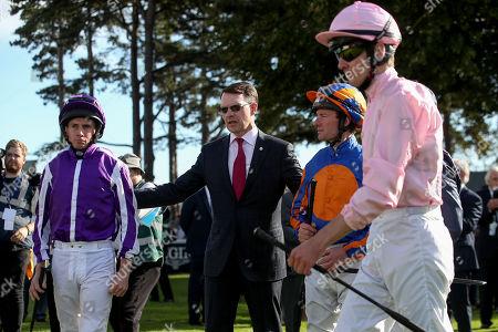 Trainer Aidan O'Brien with Jokey's Emmett McNamara, Seamie Heffernan and Wayne Lordan