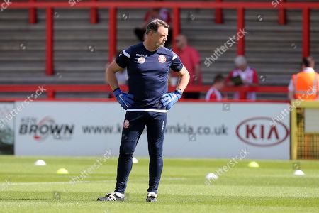 Stock Image of Stevenage goalkeeping coach Tony Roberts before Stevenage vs Carlisle United, Sky Bet EFL League 2 Football at the Lamex Stadium on 14th September 2019