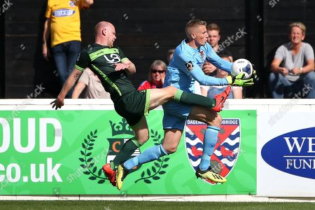 Stock Image of Elliot Justham of Dagenham and Redbridge denies Jason Kennedy of Hartlepool United during Dagenham & Redbridge vs Hartlepool United, Vanarama National League Football at the Chigwell Construction Stadium on 14th September 2019