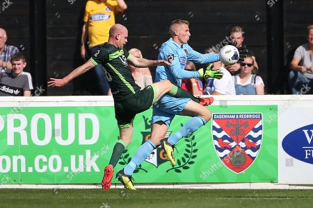 Stock Photo of Elliot Justham of Dagenham and Redbridge denies Jason Kennedy of Hartlepool United during Dagenham & Redbridge vs Hartlepool United, Vanarama National League Football at the Chigwell Construction Stadium on 14th September 2019