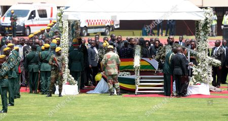 The coffin of former Zimbabwean President Robert Mugabe is on display at the National Sports Stadium during a state funeral service, in Harare, Zimbabwe, 14 September 2019. Invited heads of states and former Presidents attended the ceremony. Mugabe passed away on 06 September aged 95 in Singapore, where he had been receiving treatment since April this year. Mugabe led the country post-independence from 1980 to 2017 when he was ousted.