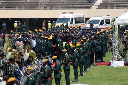 The coffin of late former Zimbabwean President Robert Mugabe is brought to the National Sports Stadium during a state funeral service, in Harare, Zimbabwe, 14 September 2019. Invited heads of states and former Presidents attended the ceremony. Mugabe passed away on 06 September aged 95 in Singapore, where he had been receiving treatment since April this year. Mugabe led the country post-independence from 1980 to 2017 when he was ousted.