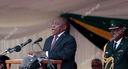 South African president Cyril Ramaphosat speaks at former Zimbabwean President Robert Mugabe's state funeral service at the National Sports Stadium, in Harare, Zimbabwe, 14 September 2019. Invited heads of state and former Presidents attend the ceremony. Mugabe passed away on 06 September aged 95 in Singapore where he had been receiving treatment since April this year. Mugabe led the country post-independence from 1980 to 2017 when he was ousted in a military coup.