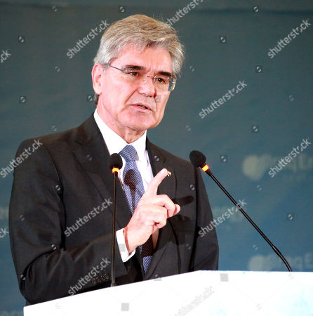 Joe Kaeser, President and Chief Executive Officer of Siemens, speaks during the 5th Iraq Energy Forum 2019 at al-Rashid hotel in central Baghdad, Iraq, 14 September 2019.  The 5th Iraq Energy Forum (IEF 2019), taking place in Baghdad from 14 until 17 September 2019 under the title 'Economic Cooperation for Middle East Peace and Prosperity', brings together the Iraqi Government in collaboration with relevant ministries, policy makers, government officials, industry leaders, experts and the investor community.
