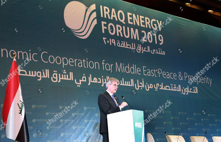 Joe Kaeser, President and Chief Executive Officer of Siemens speaks during the 5th Iraq Energy Forum 2019 at al-Rashid hotel in central Baghdad, Iraq, 14 September 2019.  The 5th Iraq Energy Forum (IEF 2019), taking place in Baghdad from 14 until 17 September 2019 under the title 'Economic Cooperation for Middle East Peace and Prosperity', brings together the Iraqi Government in collaboration with relevant ministries, policy makers, government officials, industry leaders, experts and the investor community.