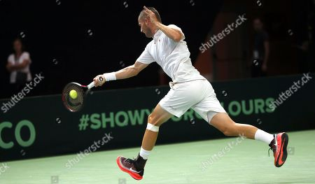 Tomislav Brkic of Bosnia in action against Jiri Vesely of Czech Republic during the Davis Cup Europe/Africa Group I first round between Bosnia and Czech Republic in Zenica, Bosnia and Herzegovina, 14 September 2019.