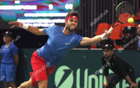 Jiri Vesely of Czech Republic in action against Tomislav Brkic of Bosnia during the Davis Cup Europe/Africa Group I first round between Bosnia and Czech Republic in Zenica, Bosnia and Herzegovina, 14 September 2019.