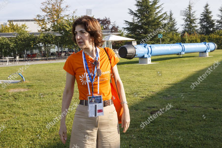 Director General of the European Organization for Nuclear Research (CERN) Fabiola Gianotti awaits her guests on CERN's site, during the CERN Opens Days, at the European Particle Physics laboratory (CERN), in Meyrin near Geneva, Switzerland, 14 September 2019.