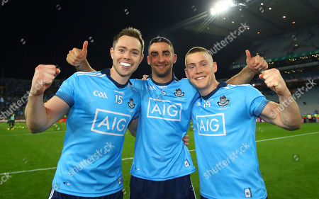 Stock Photo of Dublin vs Kerry. Dublin's Dean Rock, James McCarthy and Con O'Callaghan