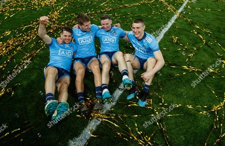 Dublin vs Kerry. Dublin's Kevin McManamon, Michael Fitzsimons, Philip McMahon and John Small celebrate