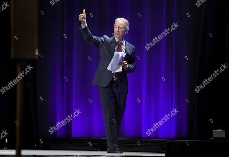 Stock Image of House Ways and Means Chairman, U.S. Rep. Richard Neal, gestures to delegates during the 2019 Massachusetts Democratic Party Convention, in Springfield, Mass