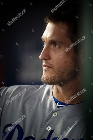 Los Angeles Dodgers first baseman David Freese (25) looks on from the dugout during the game between The New York Mets and The Los Angeles Dodgers at Citi Field in Queens, New York. Mandatory credit: Kostas Lymperopoulos/CSM