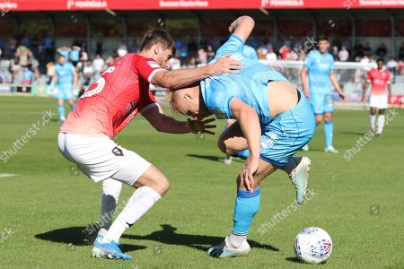 Joey Jones and Ryan Broom  during the EFL Sky Bet League 2 match between Salford City and Cheltenham Town at Moor Lane, Salford