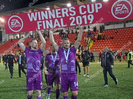 Derry City vs Dundalk. Dundalks Sean Hoare and Dane Massey celebrate