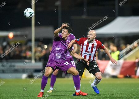 Derry City vs Dundalk. Dundalks Jamie McGrath and Grant Gillespie of Derry