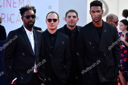 Ladj Ly, French actor Alexis Manenti, French actor Damien Bonnard and French actor Djebril Zonga arrive on the red carpet prior to the premiere of 'Cuban Network' during the 45th Deauville American Film Festival, in Deauville, France, 14 September 2019. The festival runs from 06 to 15 September 2019.