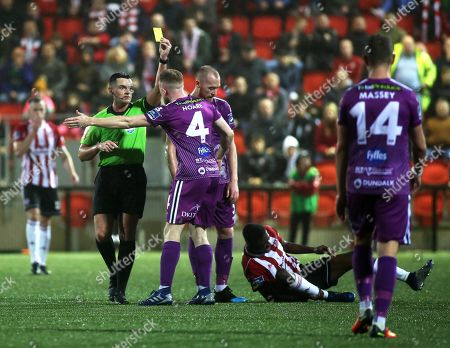 Derry City vs Dundalk. Dundalk's Sean Hoare is booked
