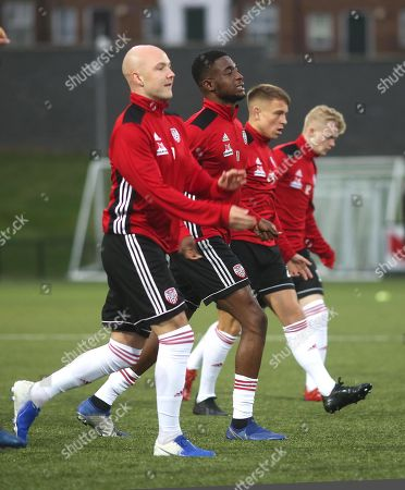 Derry City vs Dundalk. Derry's Grant Gillespie, Junior Ogedi-Uzokwe, Jack Malone and Aidy Delap during the pre match warm up