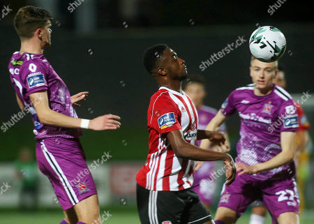 Derry City vs Dundalk. Derry's Junior Ogedi-Uzokwe with Dundalk's Sean Gannon Daniel Kelly