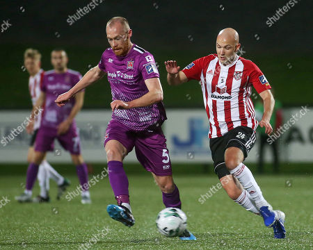 Derry City vs Dundalk. Derry's Grant Gillespie and Dundalk's Chris Shields