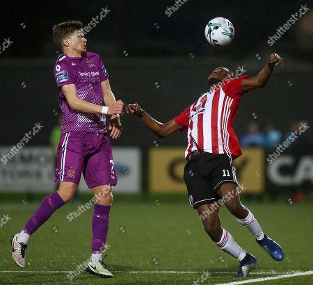 Derry City vs Dundalk. Derry's Junior Ogedi-Uzokwe and Dundalk's Sean Gannon