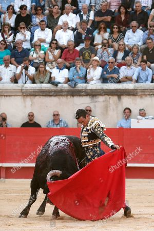 Spanish bullfighter Jose Maria Manzanares fights a bull during a bullfight held on the occasion of the 'Feria des vendanges' in Nimes, southern France, 14 September 2019. The fair runs from 13 to 15 September.