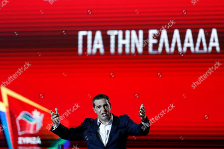 Leader of the main opposition SYRIZA party Alexis Tsipras speaks during the 84th Thessaloniki International Fair in Thessaloniki, Greece, 14 September 2019. The 84th edition of the business exhibition runs from 07 to 15 September 2019.