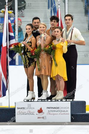 Piper Gilles and Paul Poirier of Canada (C), Lilah Fear and Lewis Gibson of Great Britain (L) and Maria-Jade Lauriault and Romain Le Gac of France (R) are  the winners of the 2019 Autumn Classic International ice skating competition, Ice Dance category, Oakville, Ontario, Canada, 14 September 2019. They won respectively first, second and third places. The competition, held at the Sixteen Mile Sports Complex, is part of the Challenger Series in Figure Skating.