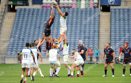 Murray Douglas - Edinburgh lock competes for line out ball with James King - Ospreys lock.