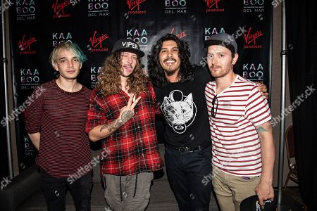 Josh Katz Joey Morrow Alex Espiritu Anthony Sonetti. Josh Katz, from left, Joey Morrow, Alex Espiritu, and Anthony Sonetti of Badflower seen during KAABOO 2019 at the Del Mar Racetrack and Fairgrounds, in San Diego, Calif