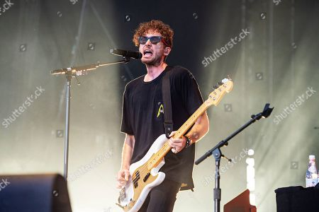 Stock Photo of Brent Kutzle of OneRepublic performs during KAABOO 2019 at the Del Mar Racetrack and Fairgrounds, in San Diego, Calif