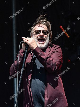 Stock Image of John Lyon of Southside Johnny and the Asbury Jukes performs during KAABOO 2019 at the Del Mar Racetrack and Fairgrounds, in San Diego, Calif