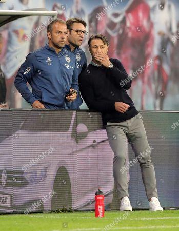 Co Trainer Hansi Hans Dieter Flick, Co Trainer Robert Kovac, Trainer Nico Kovac    / Sport / Football / DFL Bundesliga  /  2019/2020 / 14.09.2019 / RasenBallsport RB Leipzig RBL vs. FC Bayern Muenchen FCB / DFL regulations prohibit any use of photographs as image sequences and/or quasi-video. /