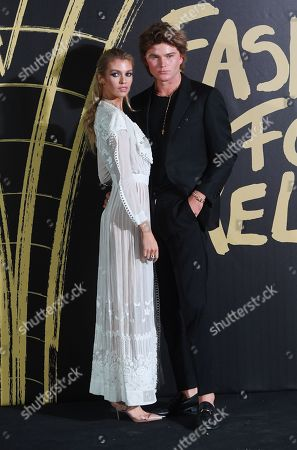Model Stella Maxwell and Australian model Jordan Barrett (R) on the red carpet of the 'Fashion For Relief' charity gala during London Fashion Week, in London, Britain, 14 September 2019. Spring/summer 2020 collections are presented at the fashion week running from 13 to 17 September.