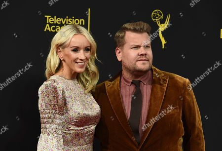 James Corden, Julia Carey. Julia Carey, left, and James Corden arrive at night one of the Television Academy's 2019 Creative Arts Emmy Awards, at the Microsoft Theater in Los Angeles