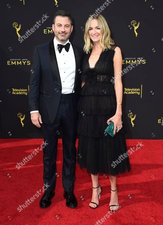 Jimmy Kimmel, Molly McNearney. Jimmy Kimmel, left, and Molly McNearney arrive at night one of the Television Academy's 2019 Creative Arts Emmy Awards, at the Microsoft Theater in Los Angeles