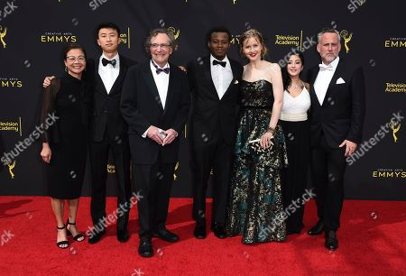 Stock Picture of Diane Quon, Bing Liu, Gordon Quinn, Keire Johnson, Justine Nagan, Nina Bowgren, Jim Sommers. Diane Quon, Bing Liu, Gordon Quinn, Keire Johnson, Justine Nagan, Nina Bowgren, and Jim Sommers arrive at night one of the Television Academy's 2019 Creative Arts Emmy Awards, at the Microsoft Theater in Los Angeles