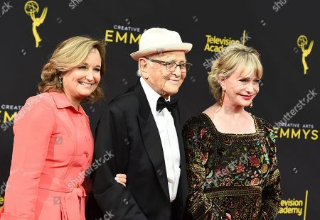 Lyn Lear, Norman Lear, Maggie Lear. Lyn Lear, from left, Norman Lear, and Maggie Lear arrive at night one of the Television Academy's 2019 Creative Arts Emmy Awards, at the Microsoft Theater in Los Angeles