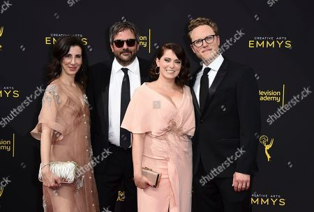 Stock Image of Aline Brosh-McKenna, Adam Schlesinger, Rachel Bloom, Jack Dolgen. Aline Brosh-McKenna, and from left, Adam Schlesinger, Rachel Bloom, and Jack Dolgen arrive at night one of the Television Academy's 2019 Creative Arts Emmy Awards, at the Microsoft Theater in Los Angeles
